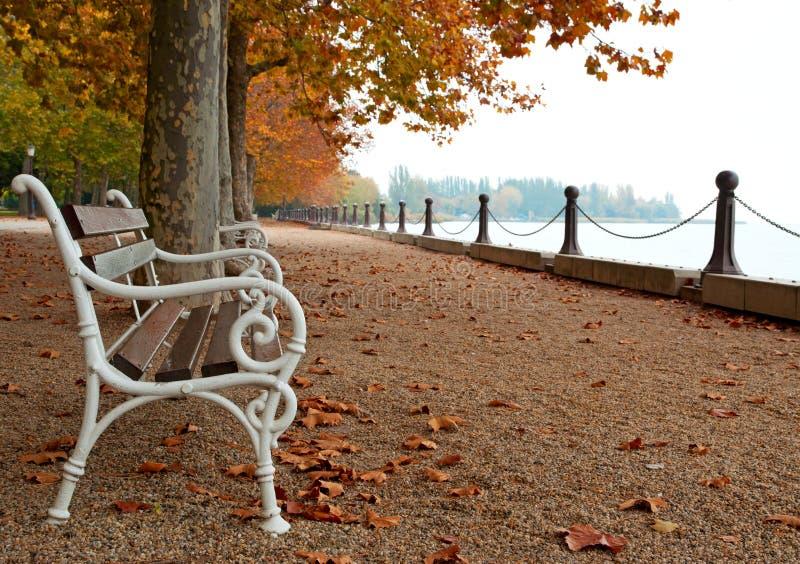 Promenade bij Meer Balaton in de herfst royalty-vrije stock foto