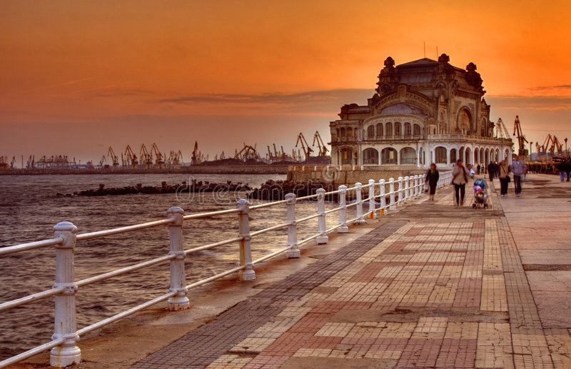 Promenade bij zonsondergang royalty-vrije stock foto