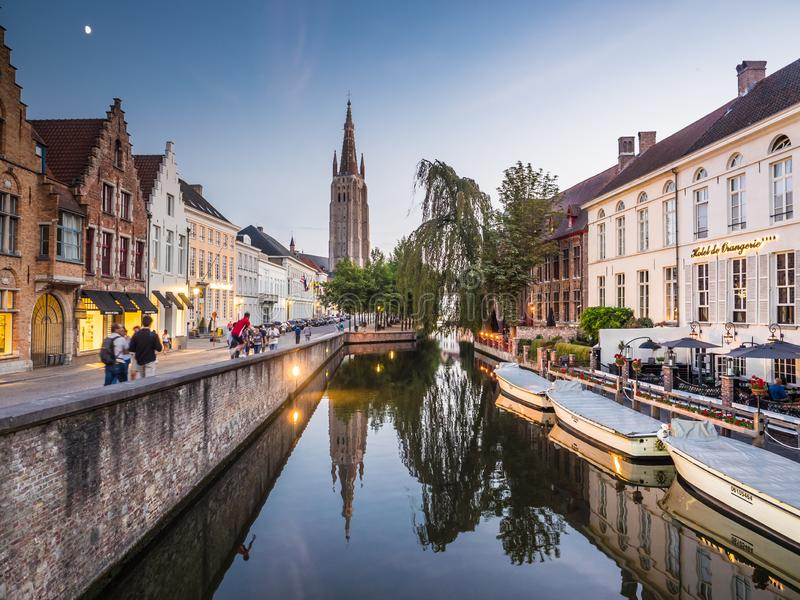011-19 Promenade on Bruges` canal stock image