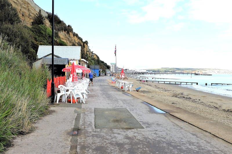 Promenade cafe, Sandown, Isle of Wight, UK stock photos
