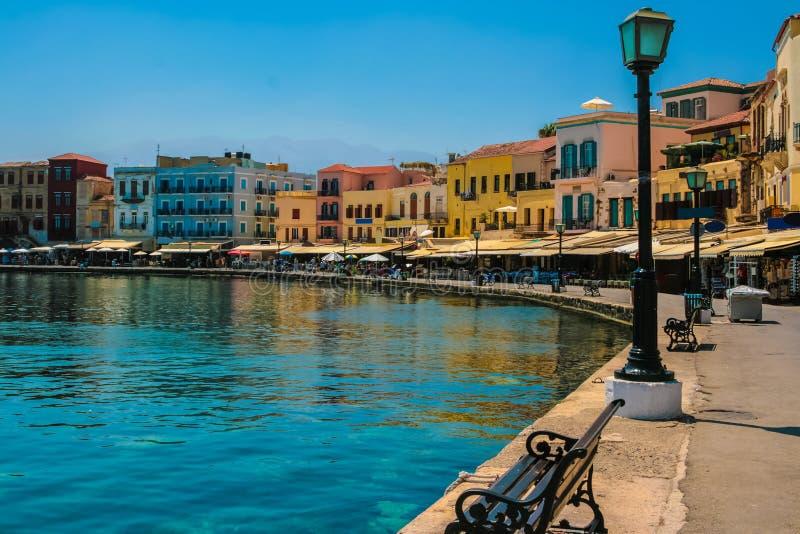 Promenade in Chania, Kreta, Griechenland lizenzfreies stockbild