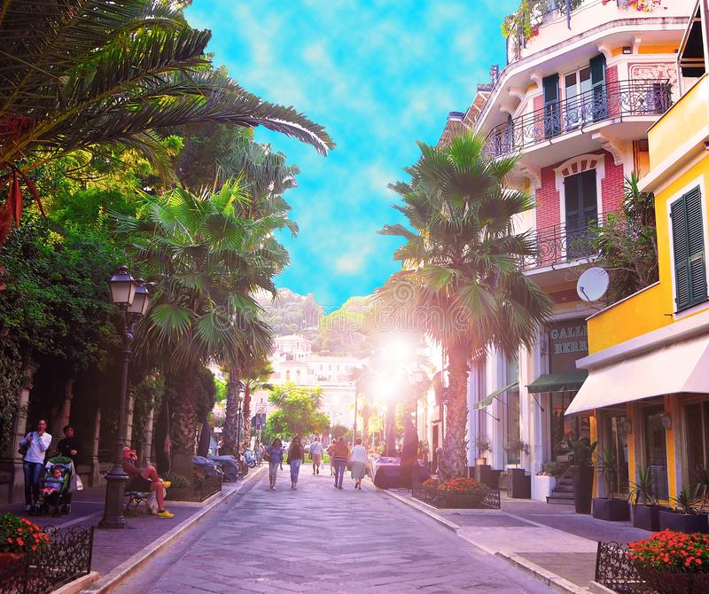 Promenade in city center, beautiful old street in tourist town of Alassio on Italian Riviera San Remo, west of Liguria, Italy. ALASSIO, SAVONA, ITALY-SEPTEMBER stock photography