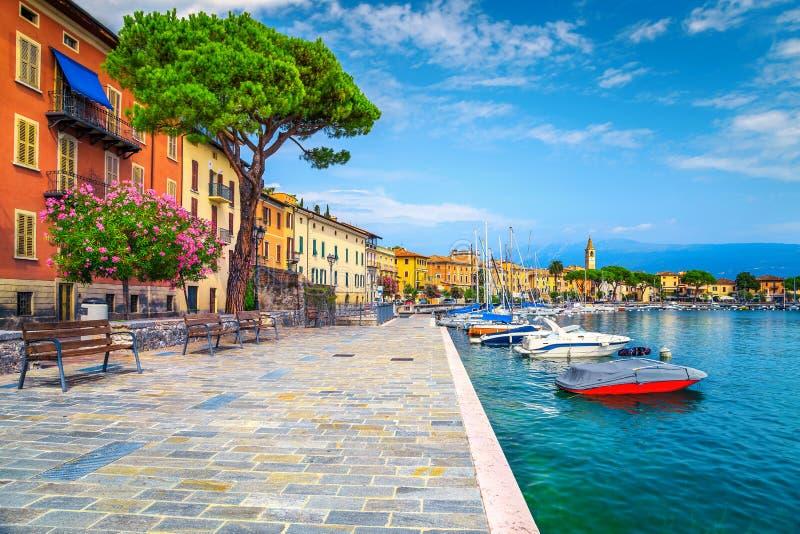 'promenade' con las flores mediterráneas coloridas del adelfa, Toscolano-Maderno, Italia imágenes de archivo libres de regalías