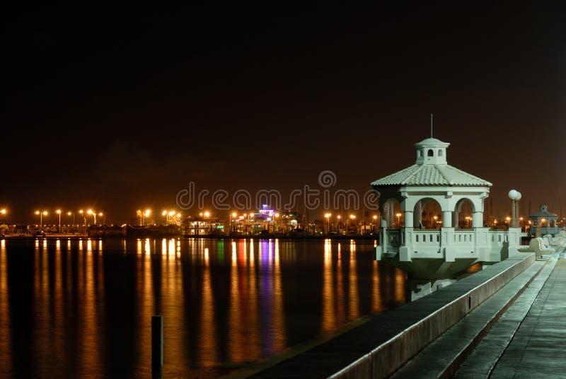 Promenade in Corpus Christi at night royalty free stock photography
