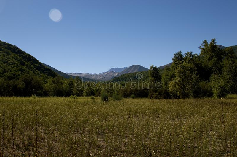 Promenade d'été par une belle vallée photographie stock libre de droits