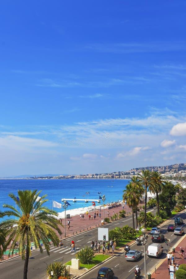 Promenade d Anglais (englische Promenade) in Nizza, Frankreich stockfoto