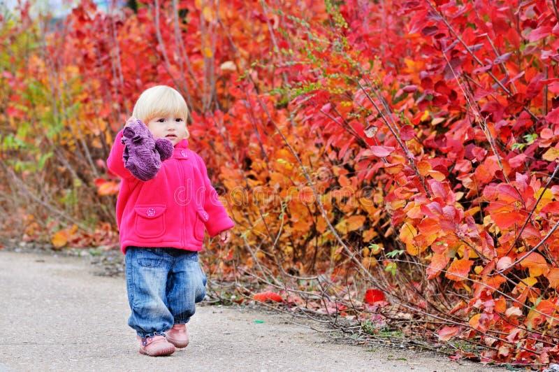 Promenade d'enfant en bas âge le long des buissons images libres de droits