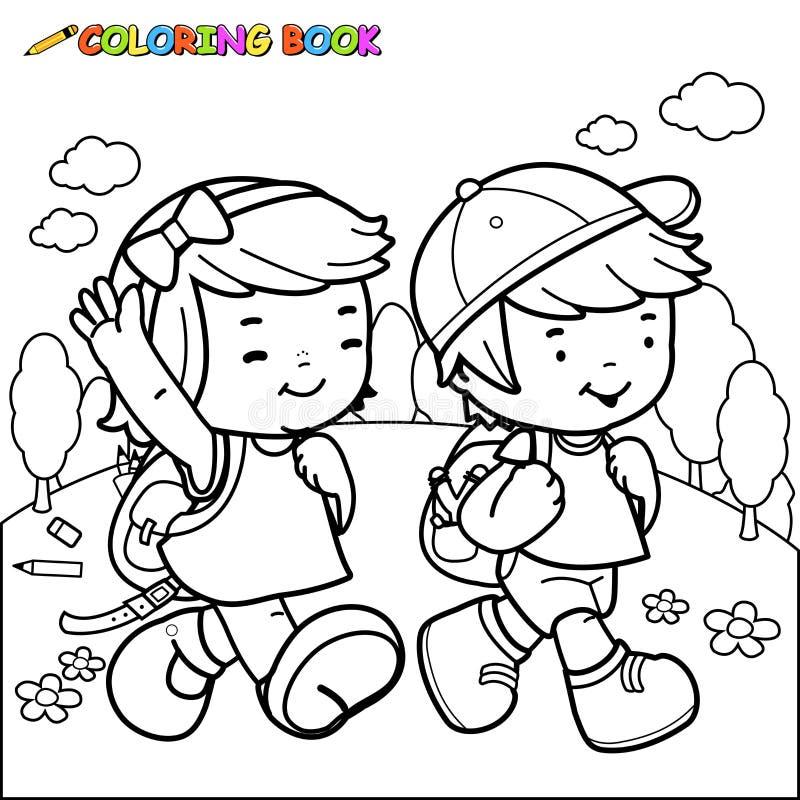 Promenade d'enfants de livre de coloriage à l'école illustration de vecteur