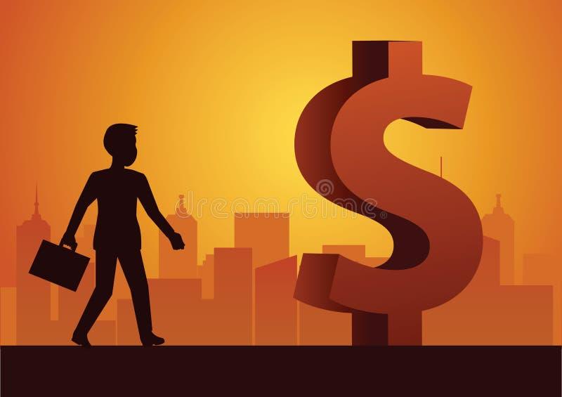 Promenade d'homme d'affaires en avant au grand symbole dollar qui signifient les riches et le suc illustration de vecteur