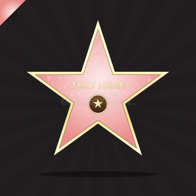 Promenade d'illustration d'étoile de renommée Symbole célèbre de récompense Accomplissement de célébrité d'acteur Conception de s illustration libre de droits