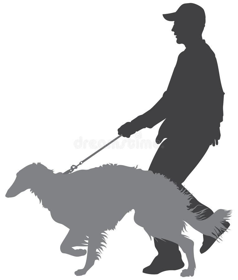 Promenade de chien, barzoï, chien-loup russe illustration libre de droits
