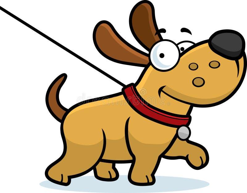 Promenade de chien de bande dessinée illustration de vecteur