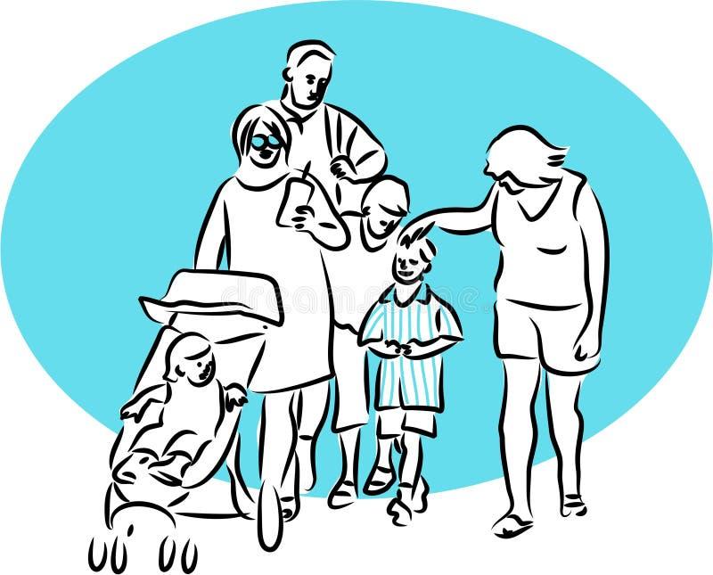 Promenade de famille illustration stock