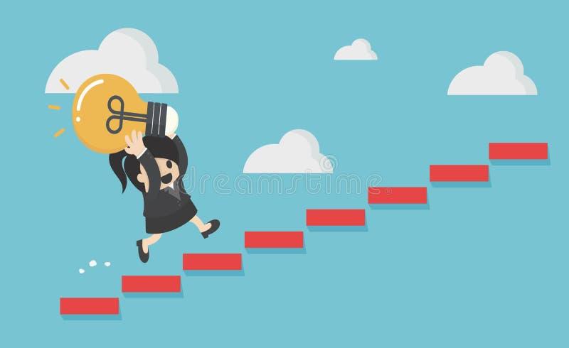 Promenade de femme d'affaires vers le haut de l'escalier à l'ampoule de porte illustration libre de droits