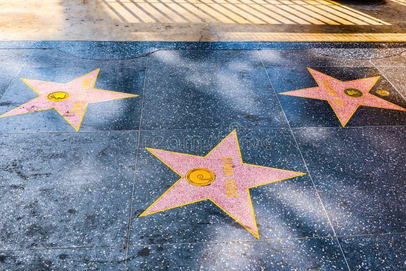 Promenade de Hollywood de la renommée dans le boulevard de Hollywood photos libres de droits
