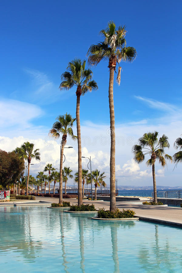 Promenade de Molos à Limassol, Chypre image stock