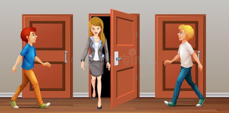 Promenade de personnes dans et les portes illustration de vecteur