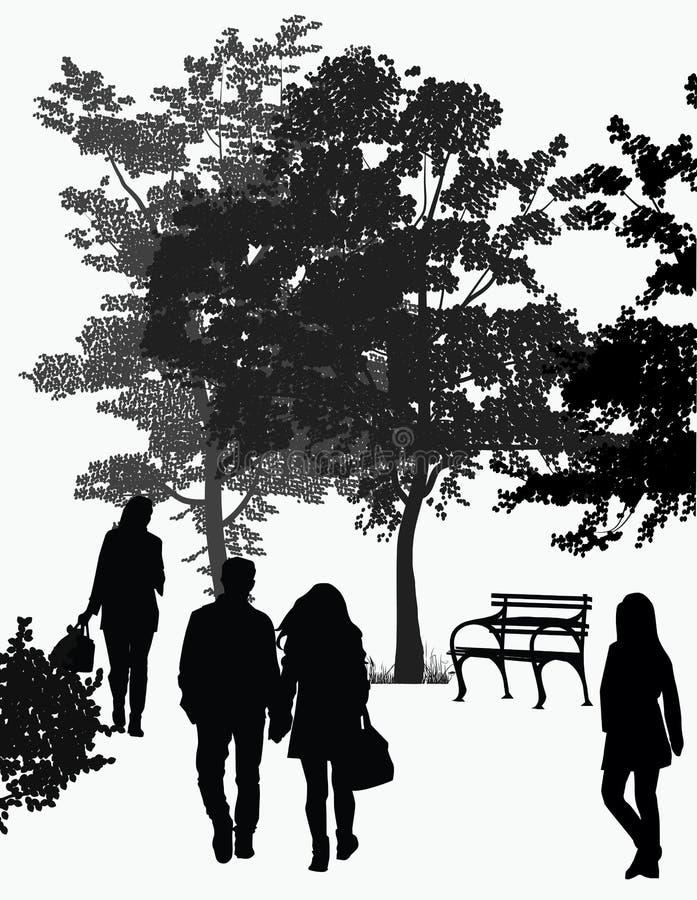 Promenade de personnes en parc illustration stock