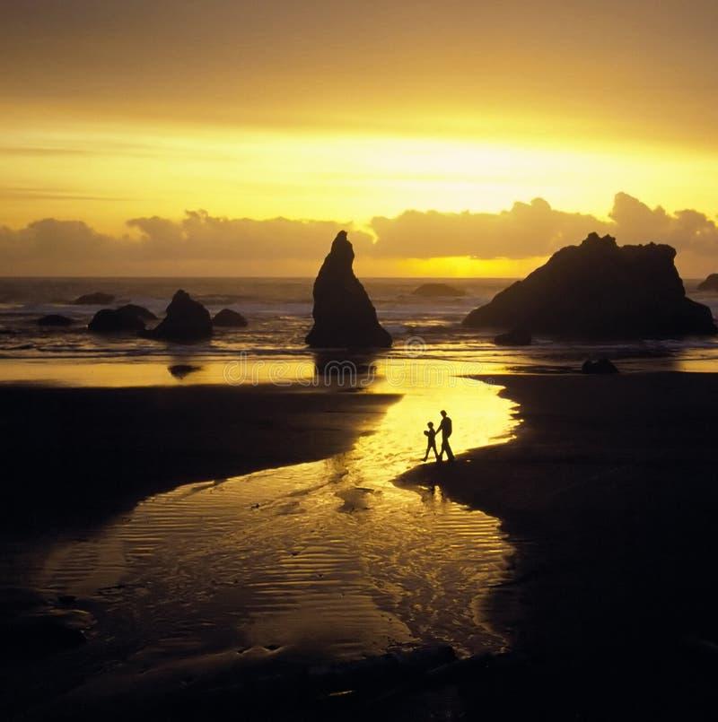 Promenade de plage de père et de fils image stock