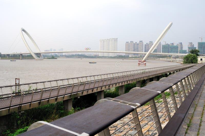 Promenade de pont d'oeil de Nanjing image stock