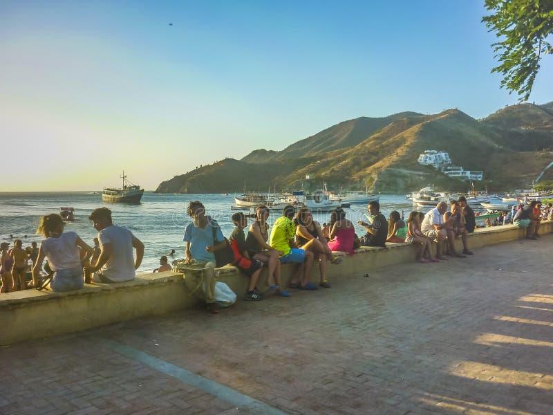 Promenade de Taganga en Colombie photos libres de droits