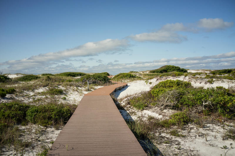 Promenade in den Sanddünen an Florida-Strand stockfotos