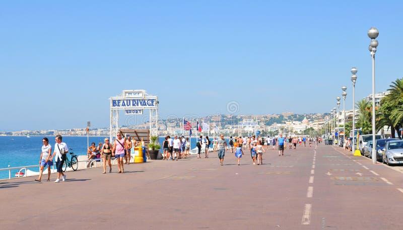 Promenade des Anglais i Nice, Frankrike arkivfoto