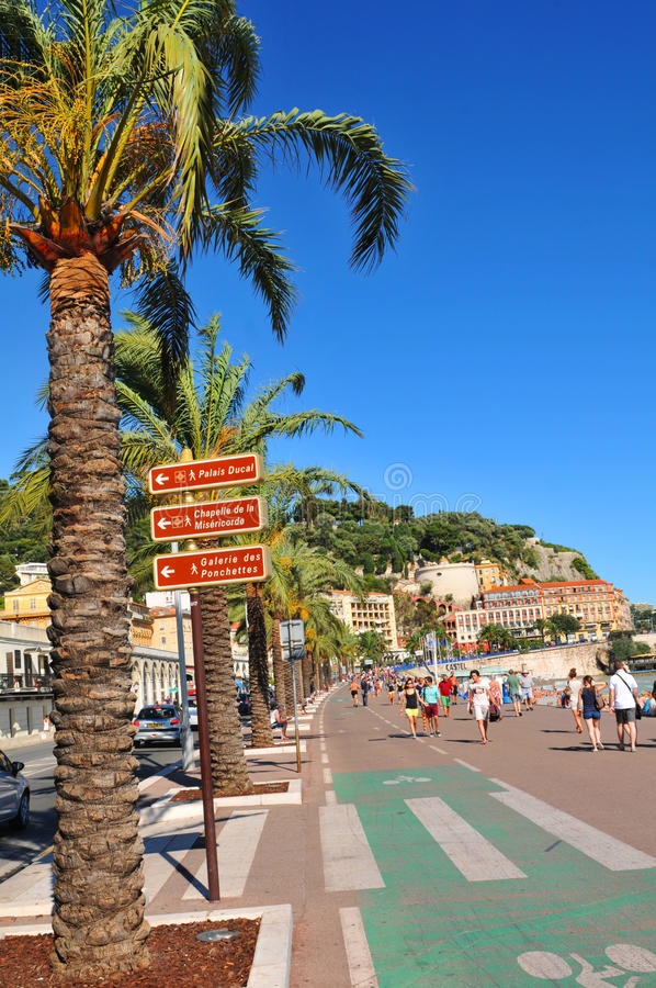 Promenade des Anglais in Nice, France stock image