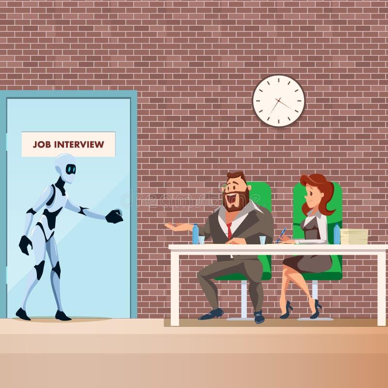 Promenade des employés de robot dans la porte pour l'entrevue d'emploi illustration libre de droits