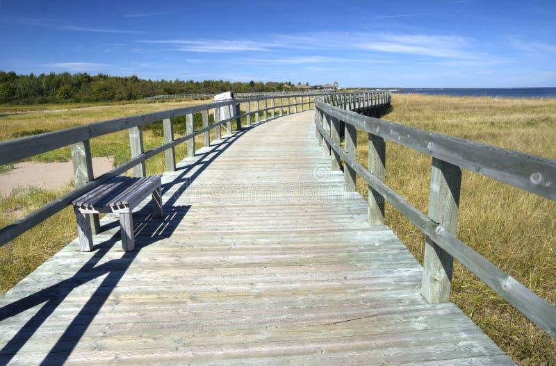 Promenade in einer Öko-Mitte, New-Brunswick, Kanada stockbild