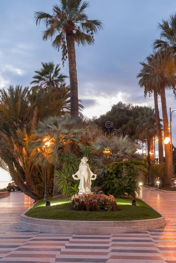 Promenade of the Empress Corso Imperatrice in the evening light, Sanremo, Italy. Sanremo, Italy. Promenade of the Empress Corso Imperatrice at evening light royalty free stock photos