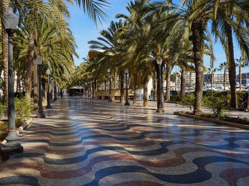 Promenade Explanada de belangrijkste en beroemde toeristenstraat Alicante stock foto's