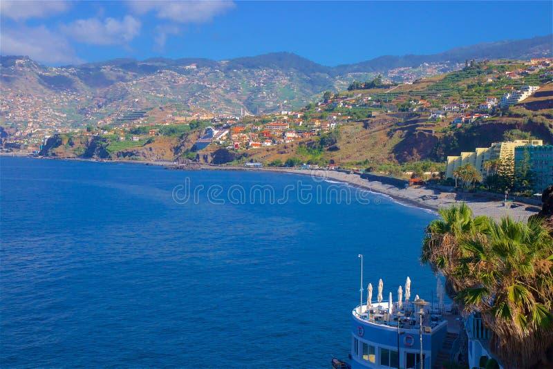 Promenade in Funchal, Madeira. Praia Formosa promenade in Madeira, Portugal stock photography