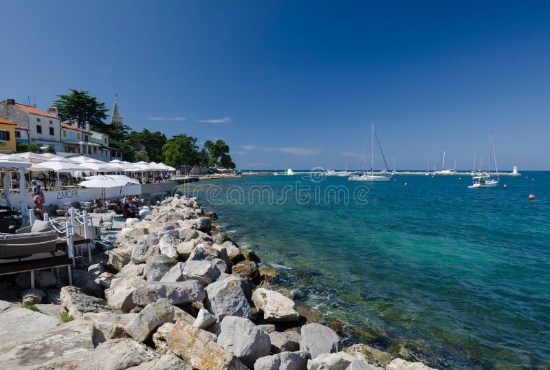 Promenade and harbor in Novigrad, Croatia, Europe stock image