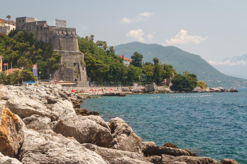 Promenade of Herceg Novi. Montenegro stock photo