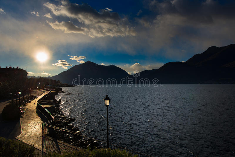 Promenade at Lake Como Italy royalty free stock photography