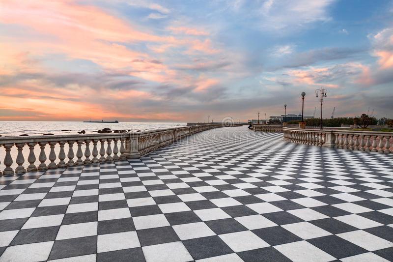 Promenade of Leghorn (Livorno), Tuscany, Italye. Leghorn (Livorno), Tuscany, Italy: promenade Mascagni Terrace at sunset, a picturesque stock image