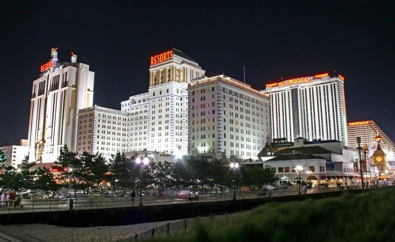 Promenade nachts in Atlantic City stockfoto