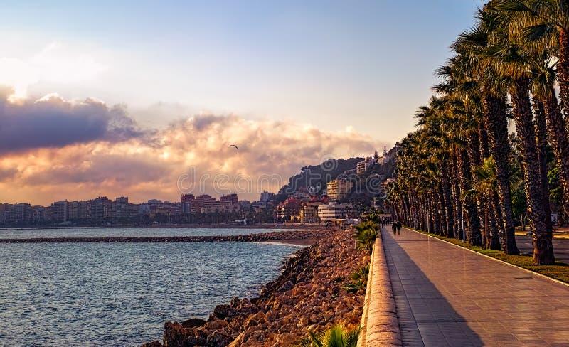 A promenade near Malagueta beach. Malaga city, Spain stock photography