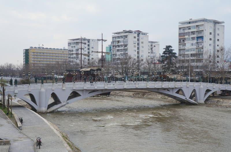 Promenade near Vardar river in Skopje royalty free stock photo