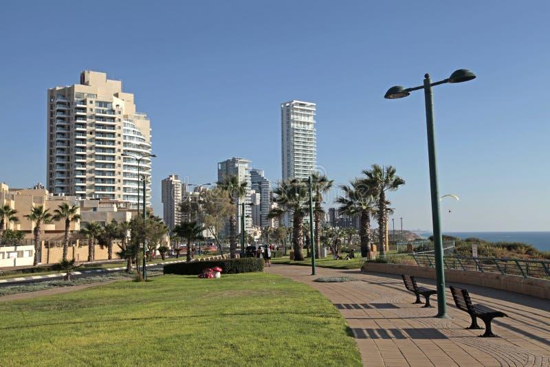 Promenade of Netanya, Israel. Modern promenade on Mediterranean sea coast, Netanya, Israel stock image