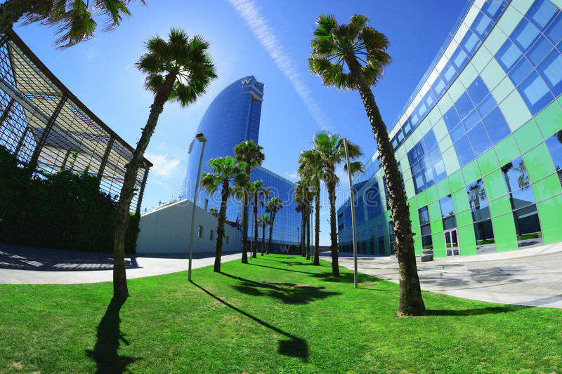 Promenade next to Barceloneta beach and Hotel W. stock image