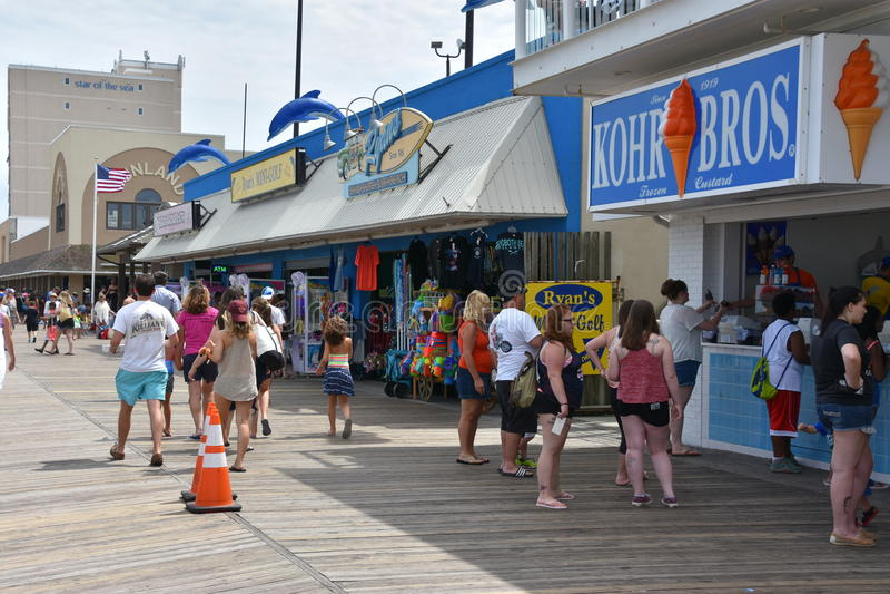 Promenade an Rehoboth-Strand in Delaware lizenzfreie stockfotografie
