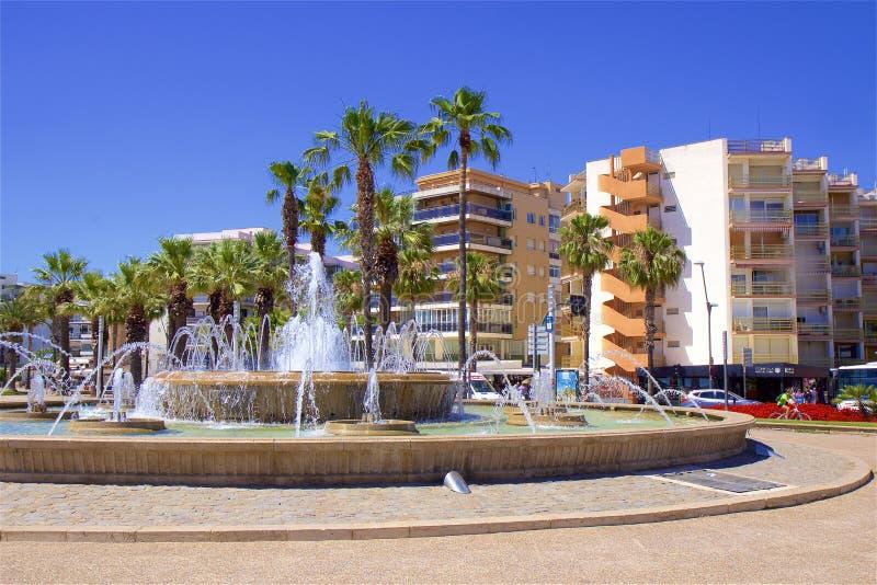 Promenade in Salou, Spain. Beautiful coastal walk and promenade in Salou resort, Spain royalty free stock photo