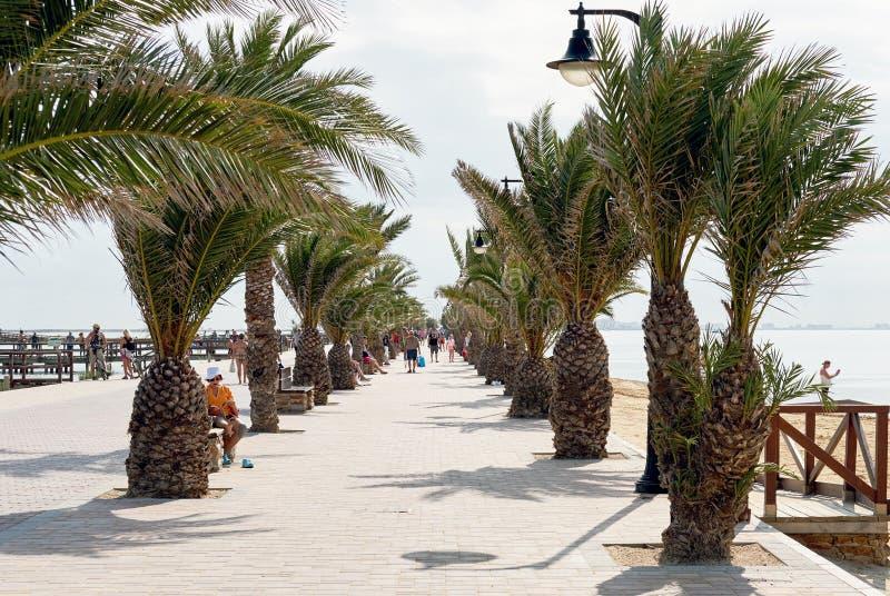 Promenade of San Pedro del Pinatar. Spain. San Pedro del Pinatar, Spain - November 23, 2017: Palm-lied promenade of San Pedro del Pinatar, touristic heart of the royalty free stock photo
