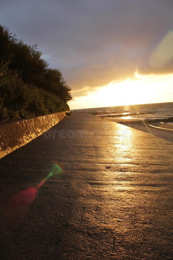Promenade by sea royalty free stock photography