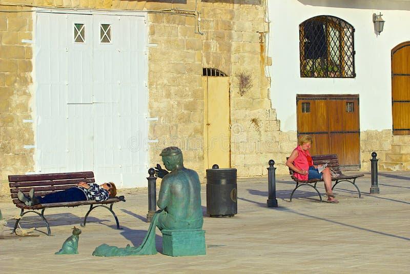 Promenade in St. Julians, Malta stockbilder