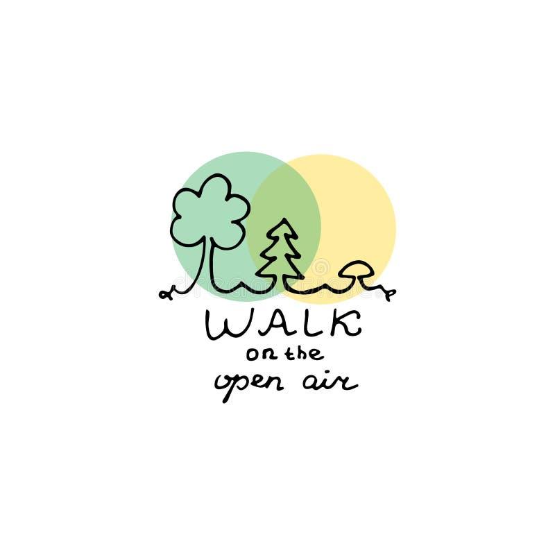 Promenade sur la conception de logo d'air ouvert illustration de vecteur