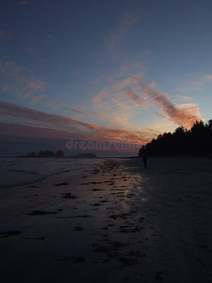 Promenade sur la plage au coucher du soleil image libre de droits