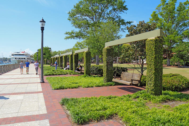 Promenade and swings on the waterfront of Beaufort, South Carolina stock photo